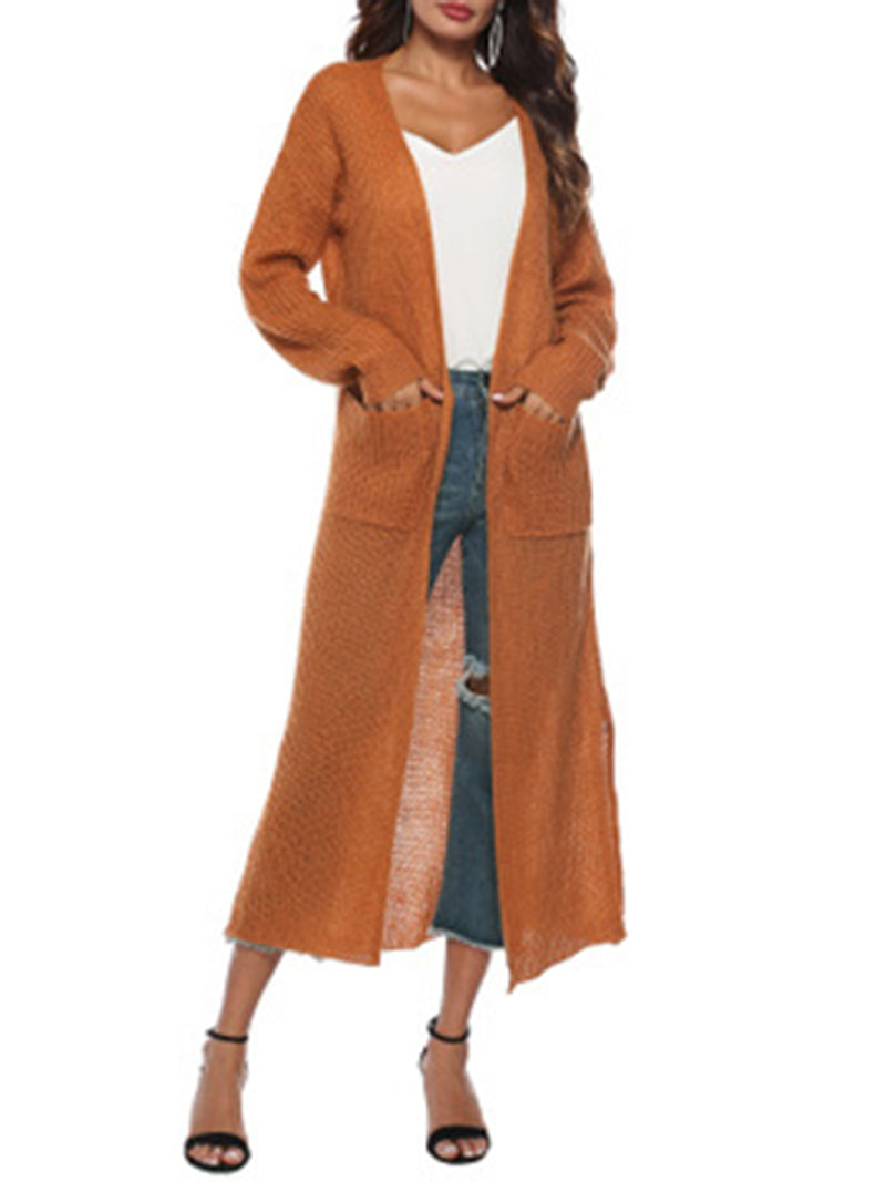 Casual Solid Large Pocket Thick Long Sweater Coat