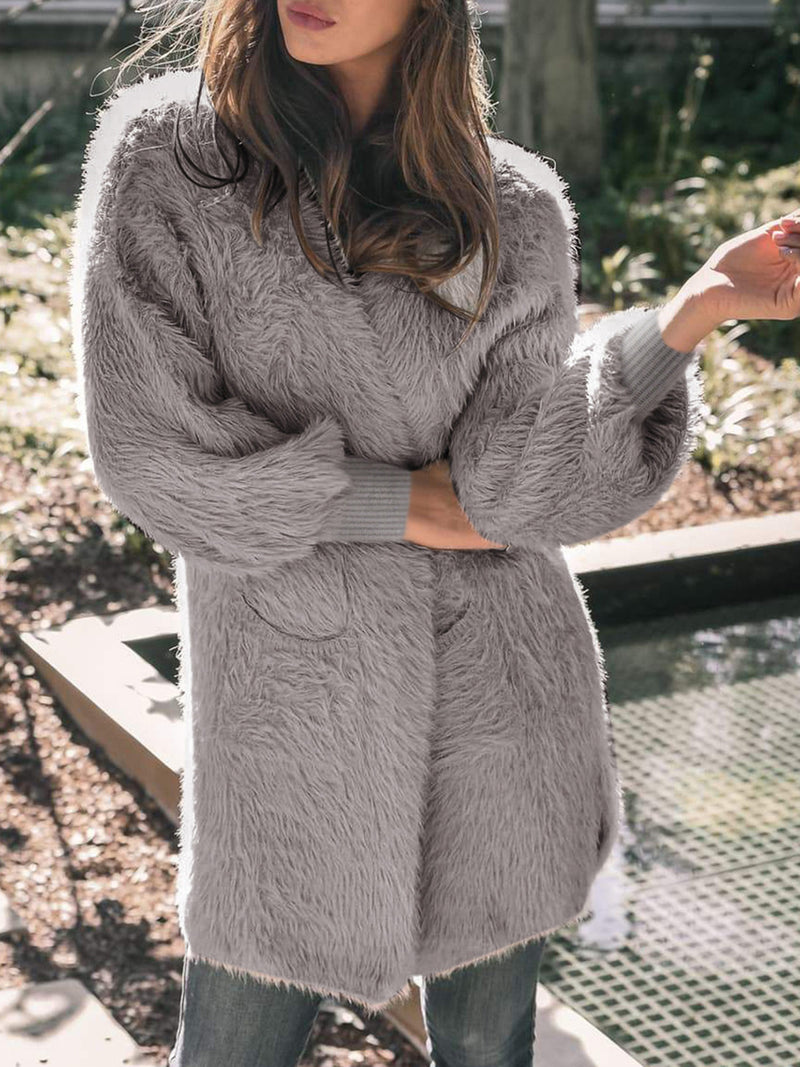 Fluffy Casual Pockets Soft Cardigan