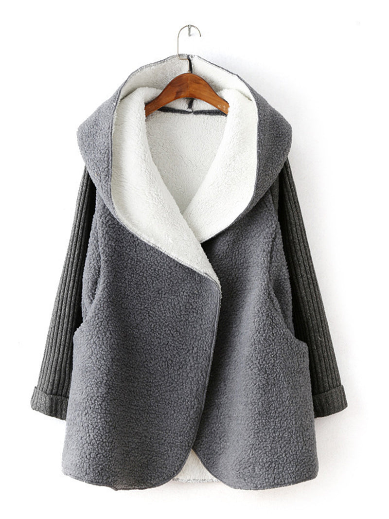 Cashmere Warm Jacket Female Loose Lrge Size Hoodie Long Cardigan
