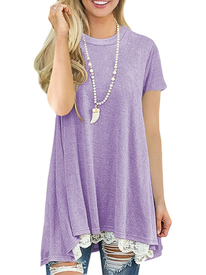 Casual Lace Paneled Crew Neck Short Sleeve T-Shirt