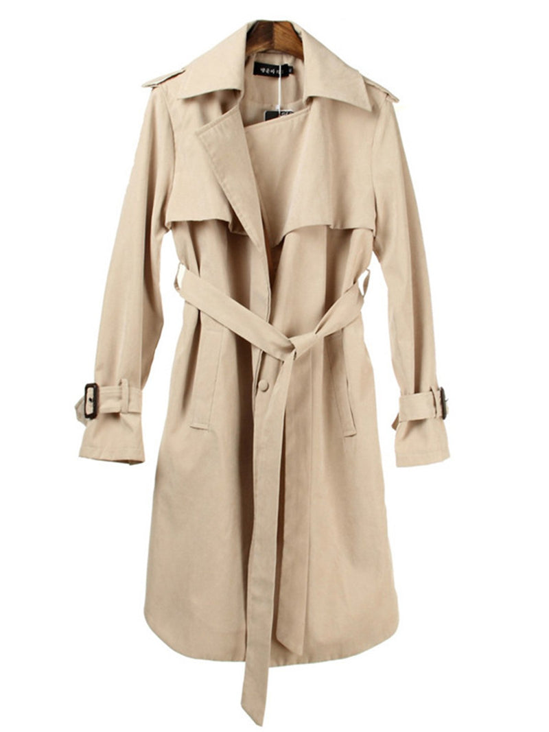 Women's Autumn Lapel Casual Loose Long Trench Coat with Belt