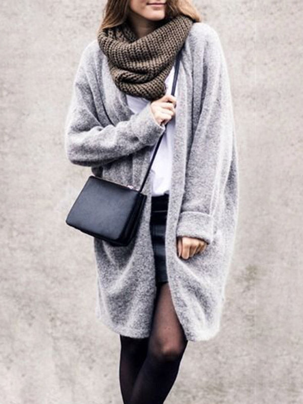 Solid Long Sleeve Knitted Cardigan