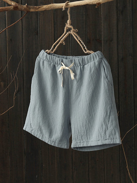 6 Colors Pockets Linen Casual Solid Drawcord Plus Size Short