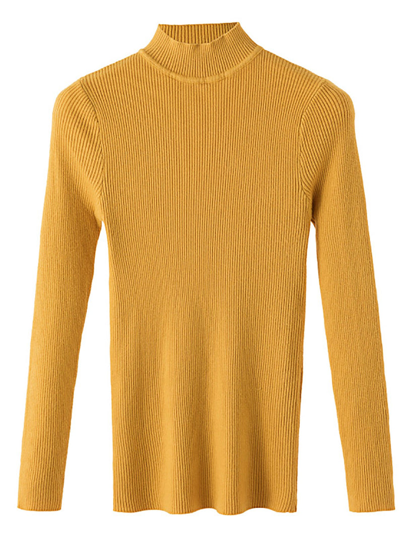 Stretchy Long Sleeve Knitted Sweaters