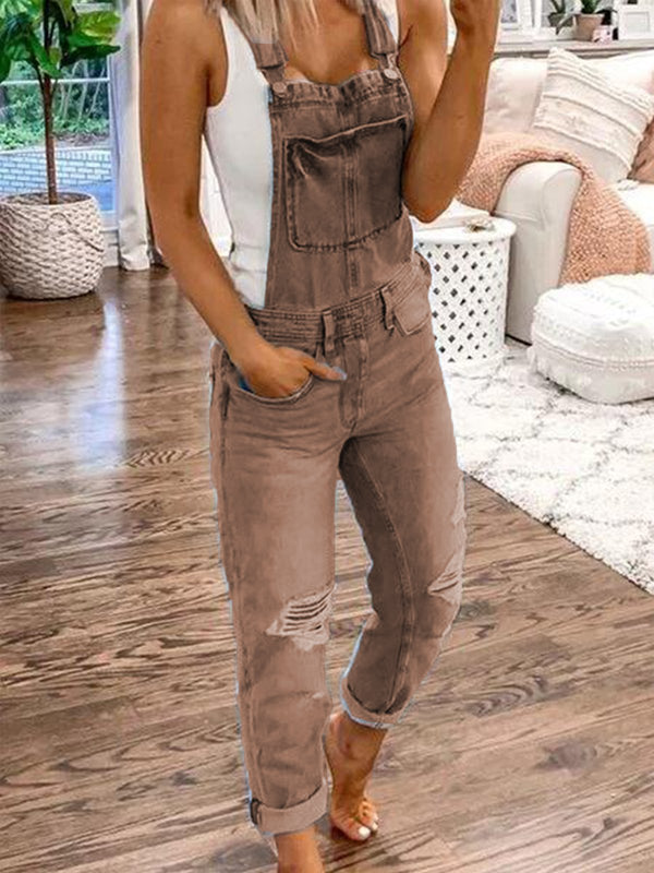 Blue Casual Plain Denim Ripped Jumpsuit