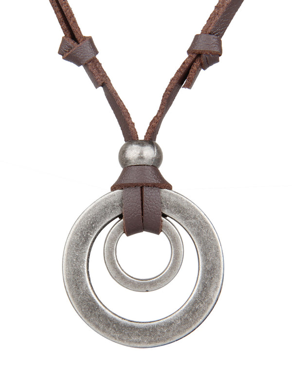 Womens Mens Vintage Alloy Round Necklace
