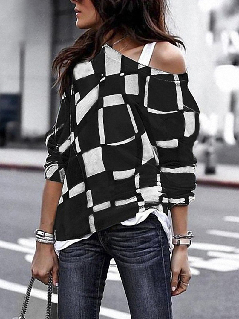 Women Plus Size T-Shirts Boat Neck Long Sleeve Geometric Tops