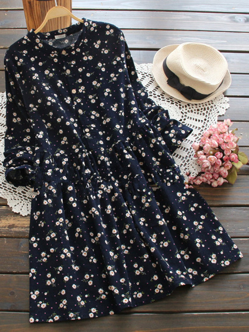 Floral Sweet Style Long Sleeve Shift Dress