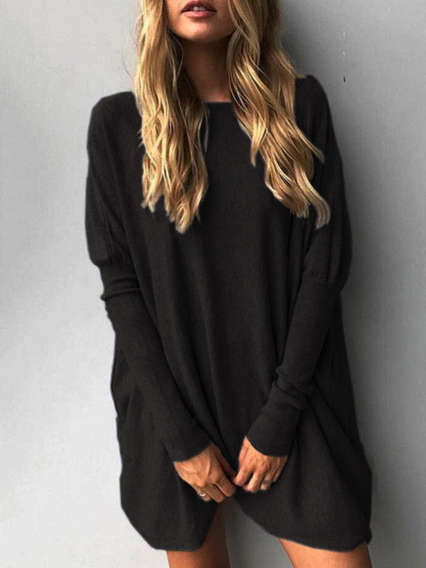Casual Long Sleeve Solid Tunic