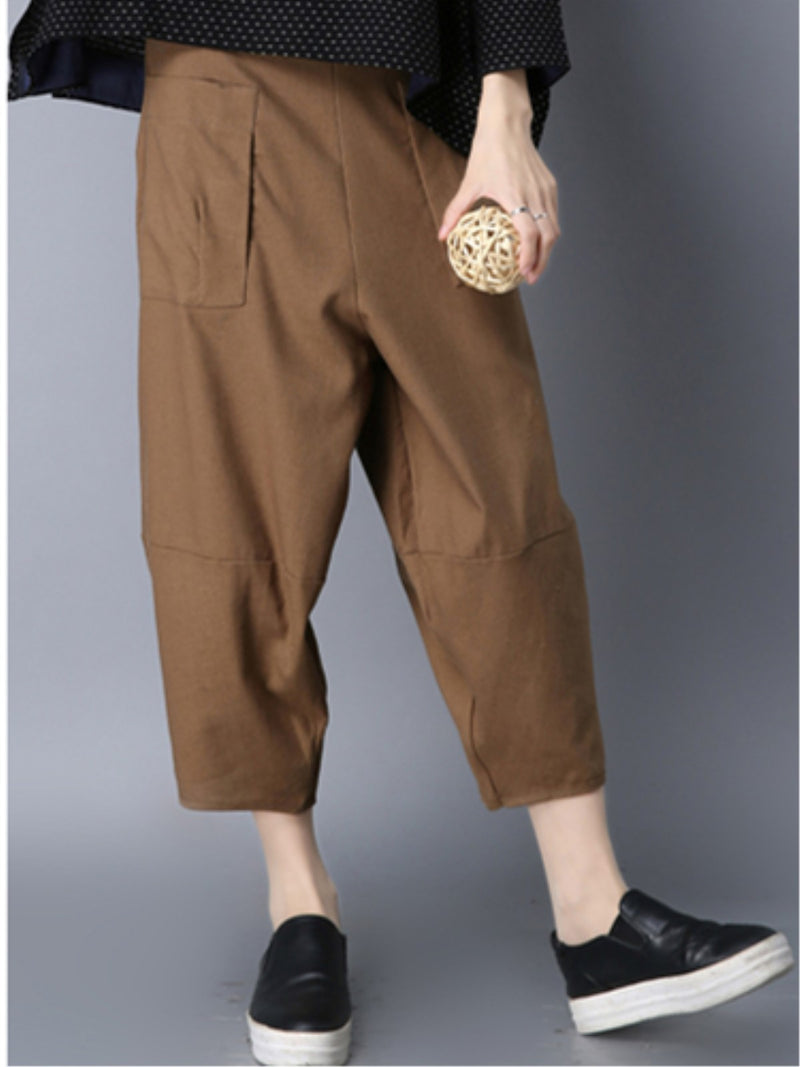 Solid Casual Pockets Women's Pants
