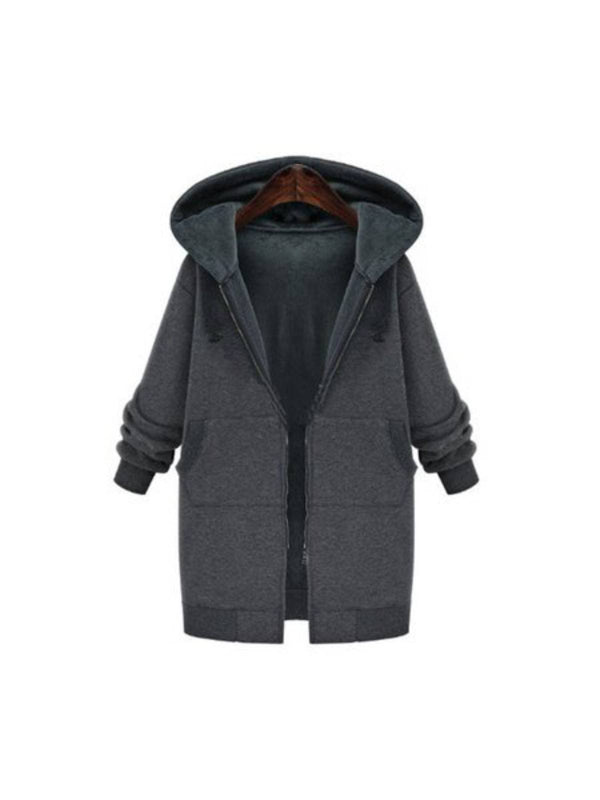 Large Size Cashmere Loose Zipper Hooded Coat