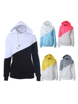 Light Gray Casual Solid Color-block Hoodies
