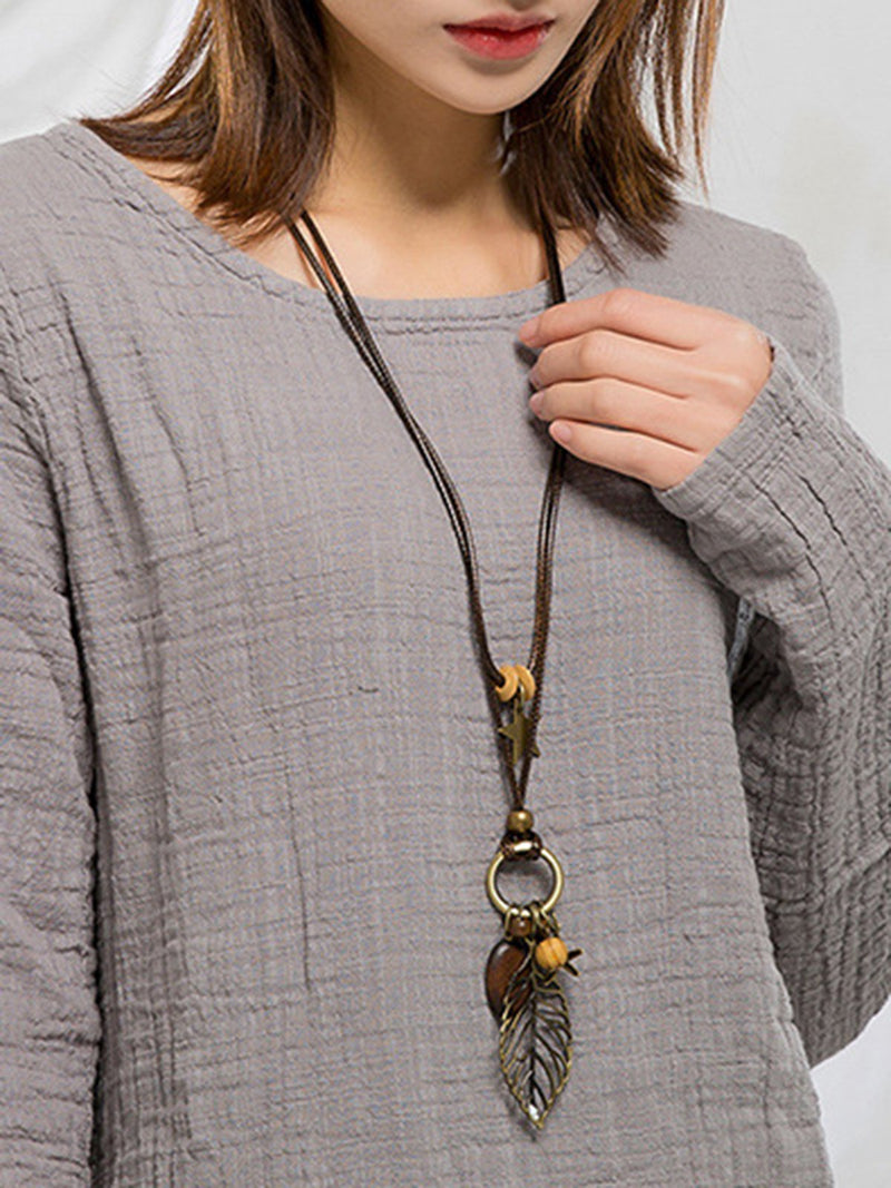 Brown Vintage Leaf Sweater Necklace