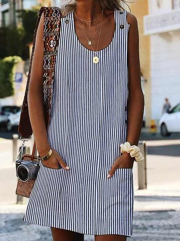 Women Dress Striped Sleeveless Boho Crew Neck