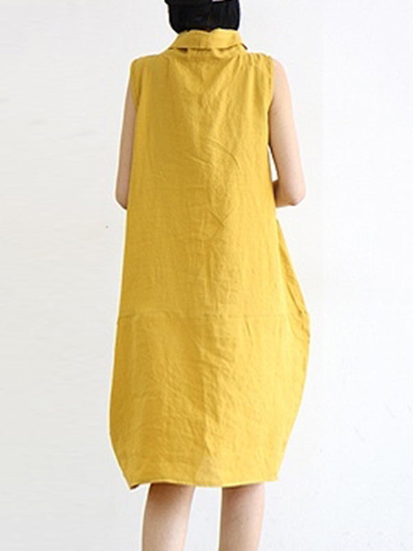 Yellow Daily Pockets Sleeveless Cowl Neck Dress