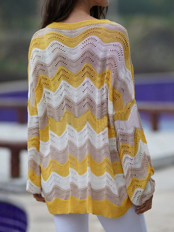 Yellow Knitted Crew Neck Long Sleeve Plus Size Sweater