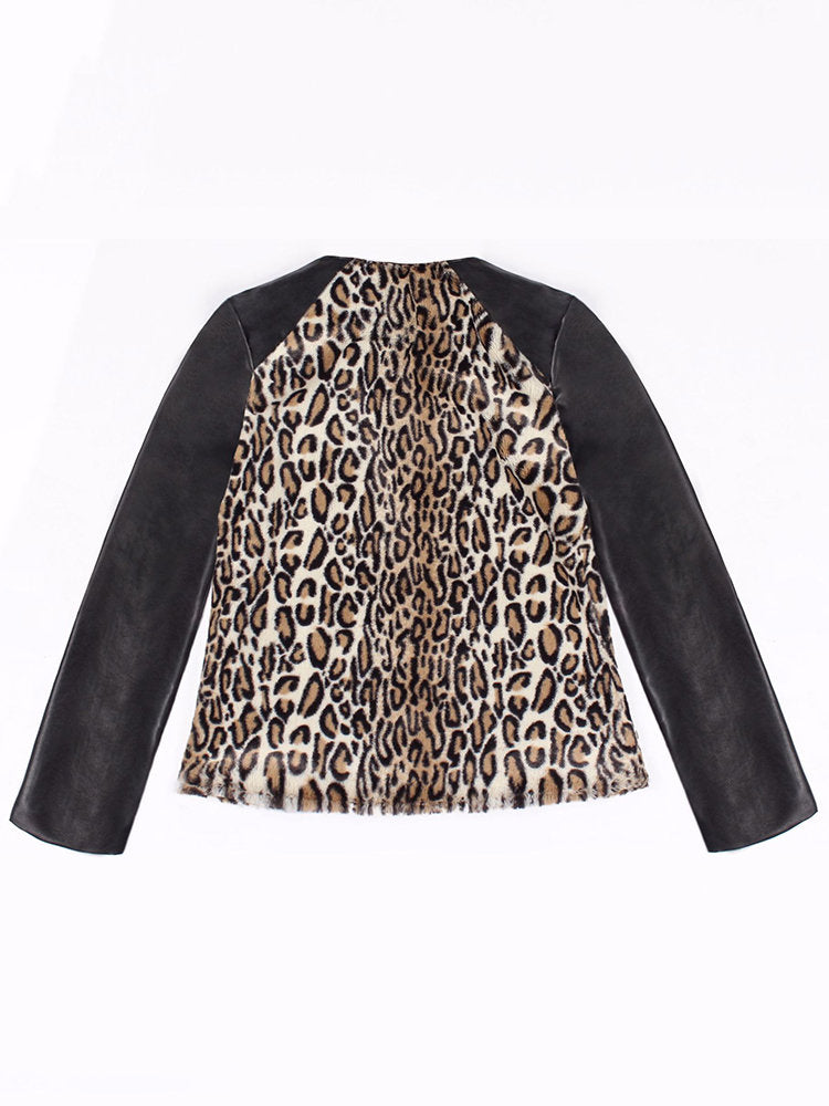 Leopard Print Patchwork V Neck Winter Long Sleeve PU Coat