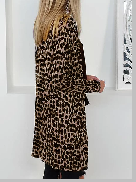 Leopard Long Sleeve Leopard Print Cotton Casual Cardigans