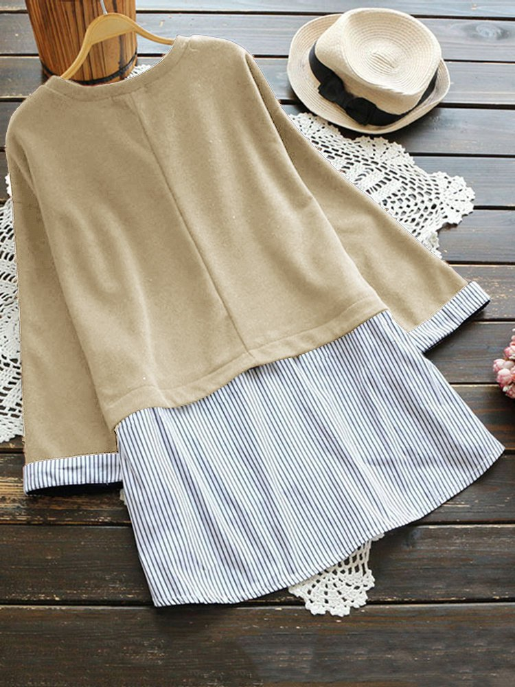 Casual Long Sleeve Striped Crew Neck Plus Size Blouse