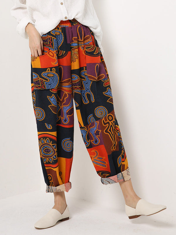 Plus Size Red Pockets Tribal Printed Pants
