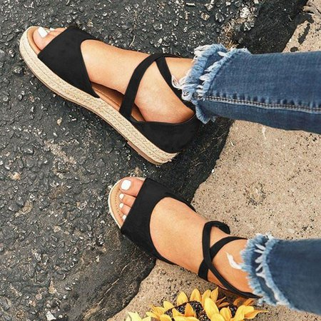 Fashion Women Espadrilles Style Sandals Flat Bandage Sandals