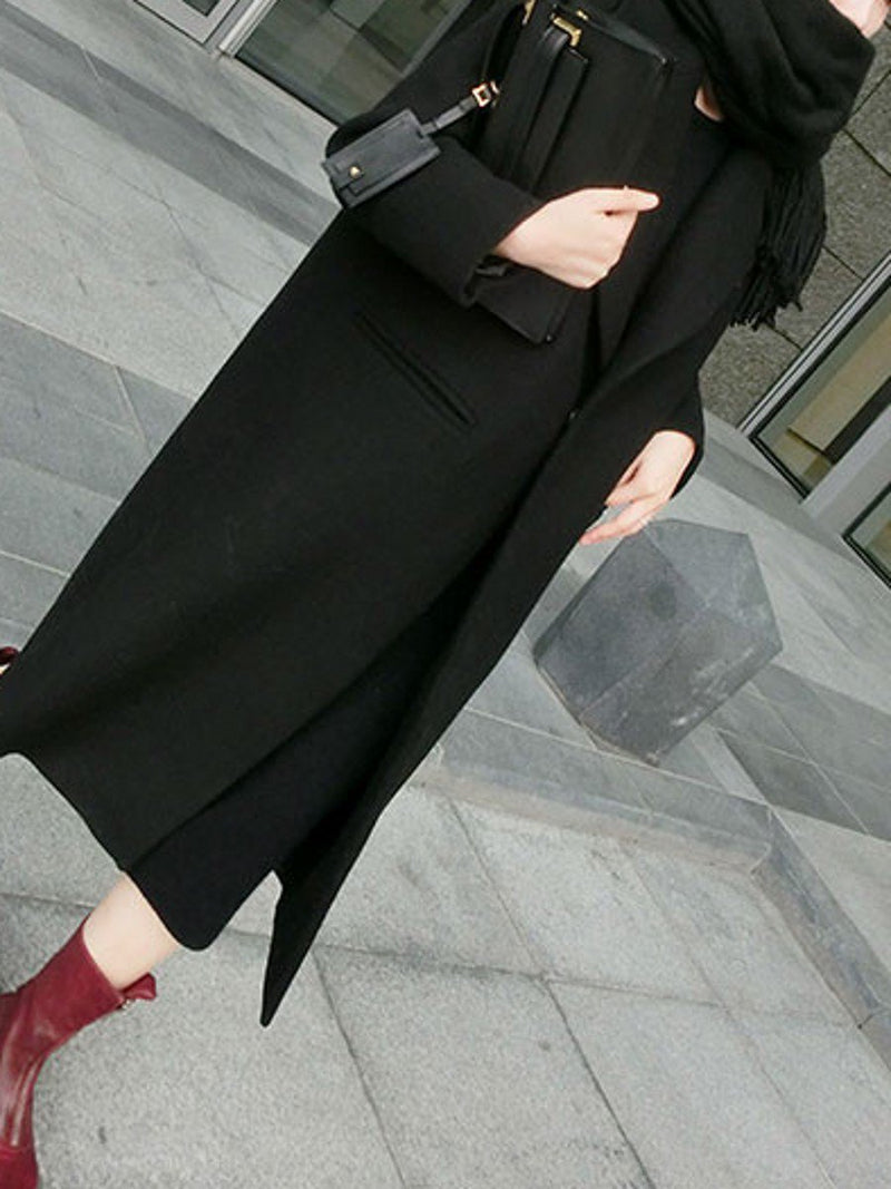 Women's Coat Classic Solid Color Long Coat