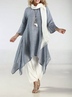 Women Dress Plus Size Linen Vintage Asymmetric 3/4 Sleeve Crew Neck