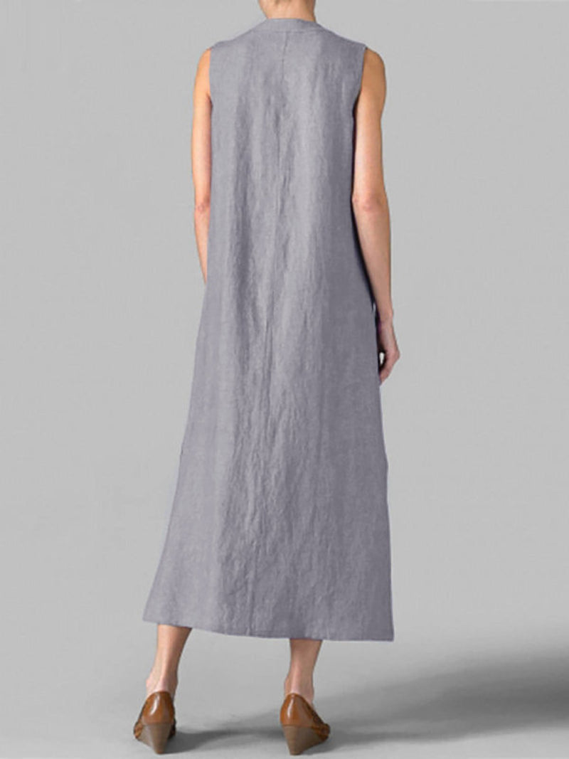 Irregular Neckline Sleeveless Shift Maxi Dress