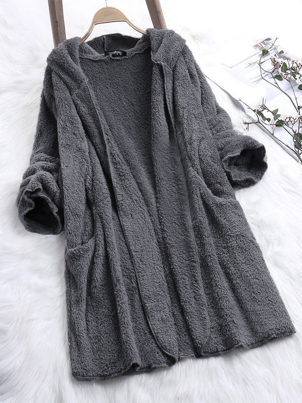 Casual Fluffy Shift Solid Plus Size Hoodie Coat