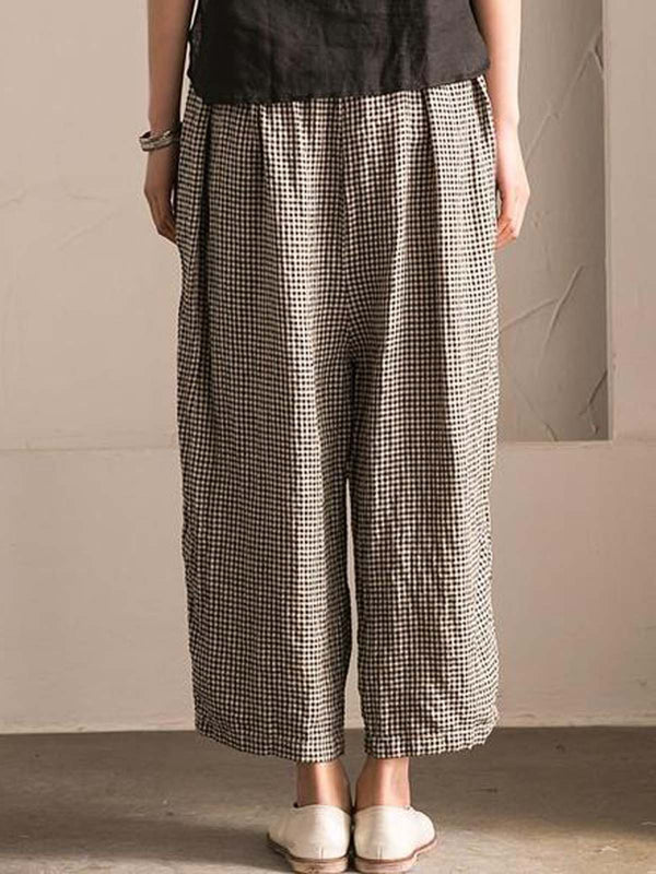 White-Black Plus Size Plaid Casual Loose Pants