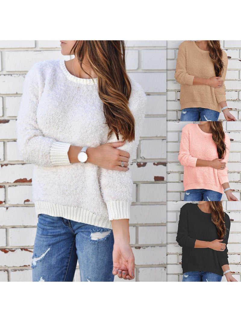Solid Cotton Long Sleeve Crew Neck Shirts & Tops