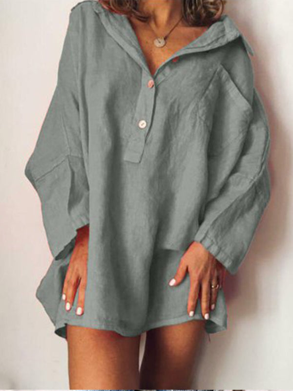 Plus Size Casual V Neck Long Sleeve Solid Dress