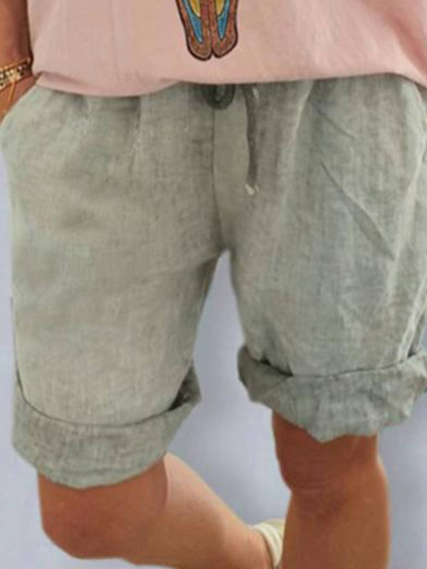 Gray Casual Cotton-Blend Pockets Pants