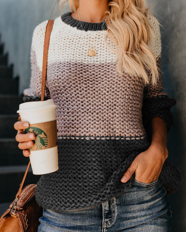 Color-Block Knitted Casual Long Sleeve Crew Neck Sweater