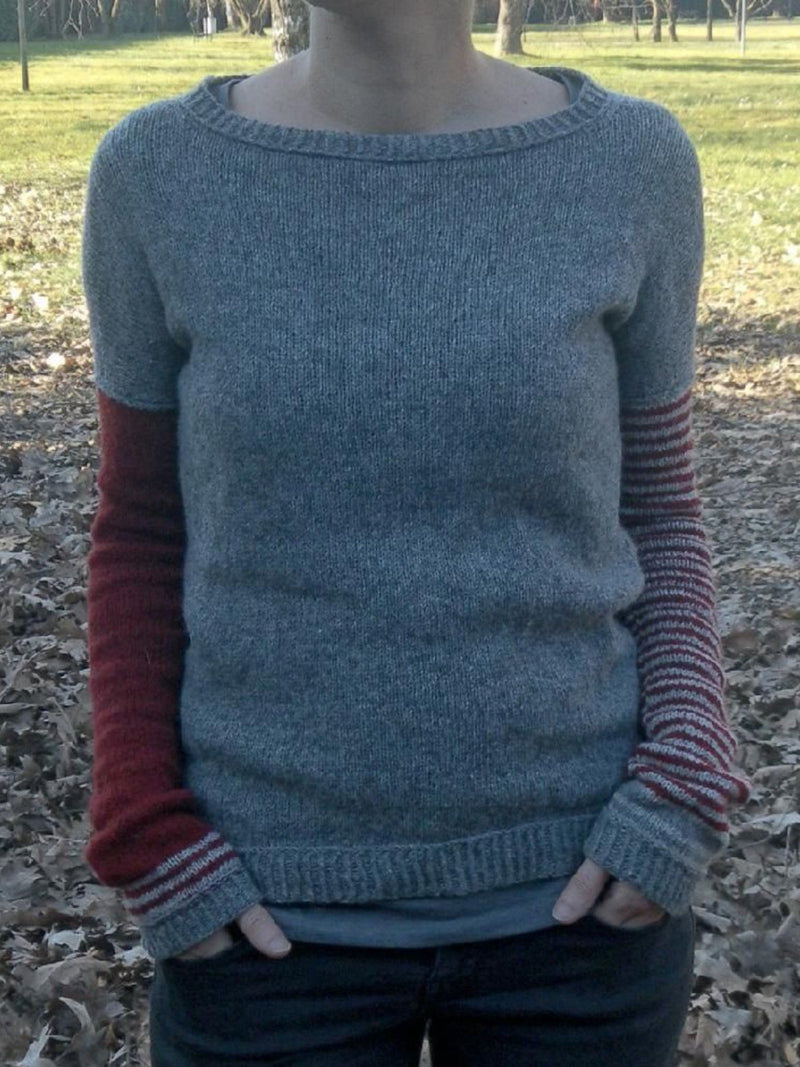 Grey Crew Neck Knitted Striped Patchwork Sweaters