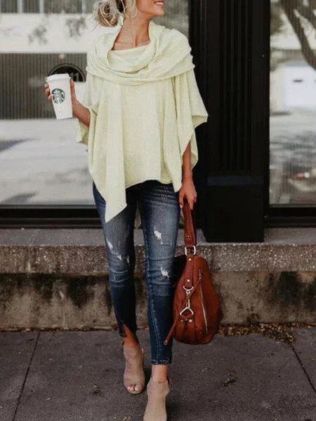 Asymmetric Casual Plain Cotton Tops