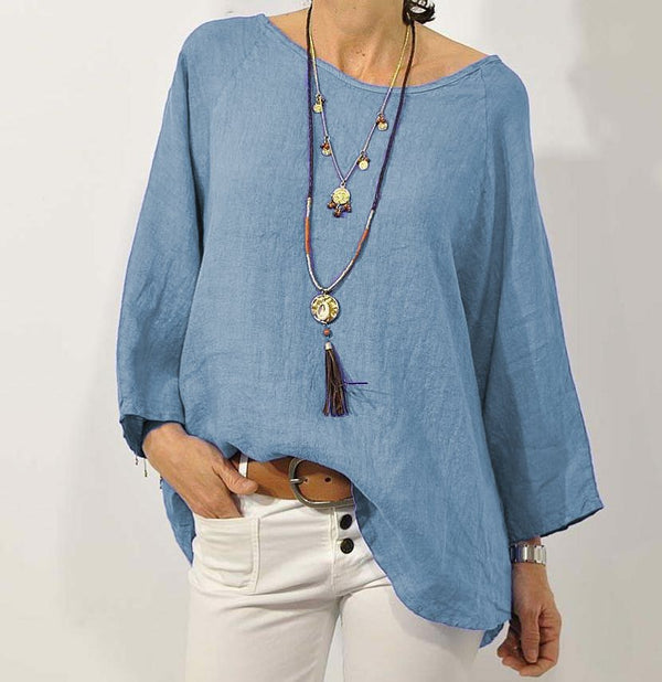 Women Linen Long Sleeve Blouse