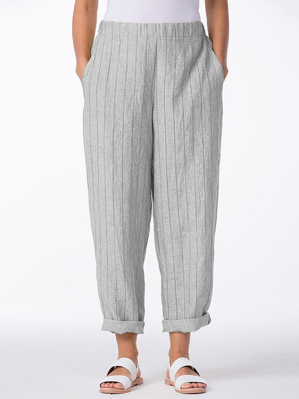 Elastic Waist Striped Printed Plus Size Pants