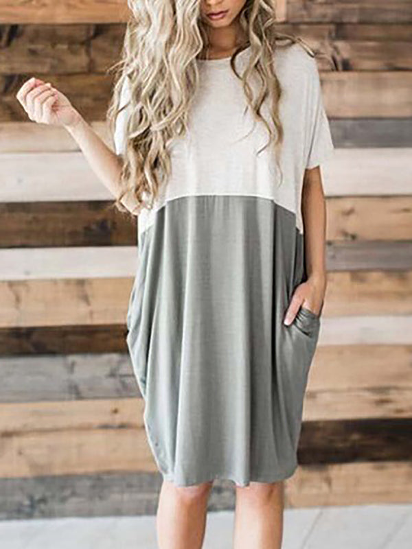 Color-Block Shift Short Sleeve Crew Neck Midi Dress