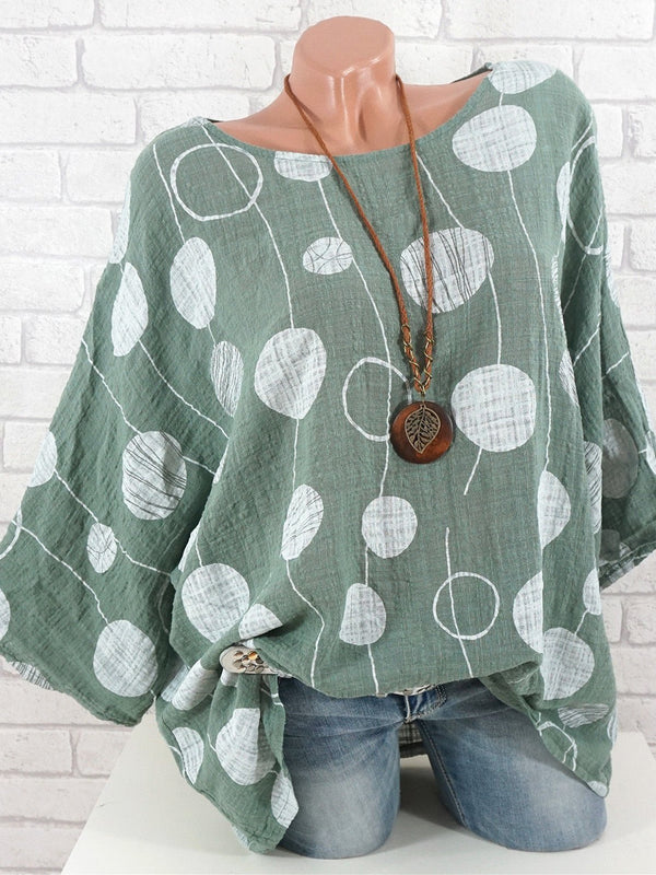 Half Sleeve Crew Neck Cotton-Blend Blouse