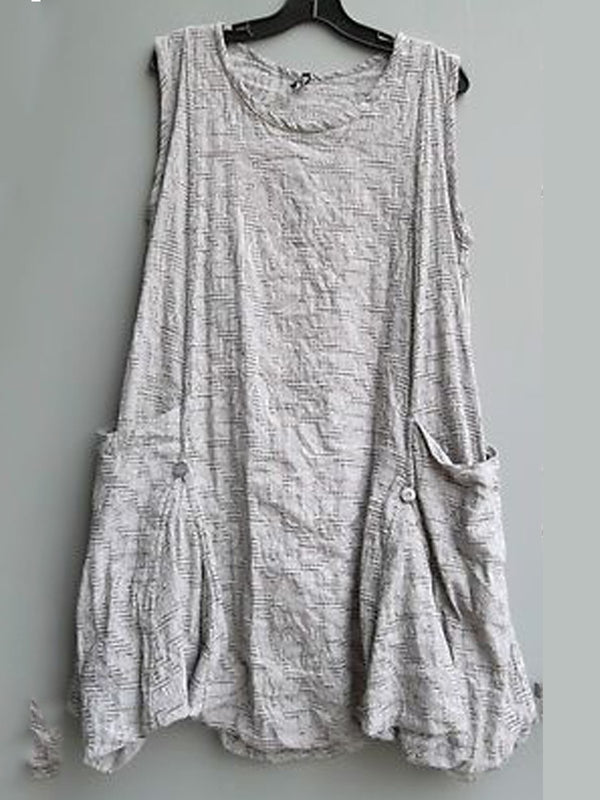 Gray Crew Neck Sleeveless Cotton Mini Dress