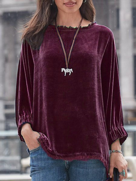 Velvet Long Sleeve Shirts & Tops