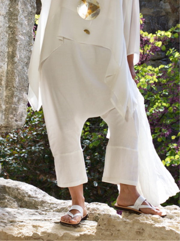 Vintage Plain Linen Plus Size Pants