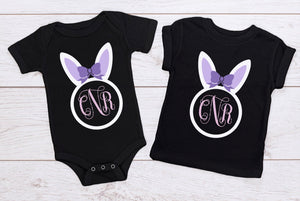 Bunny Ears Monogram with Bow