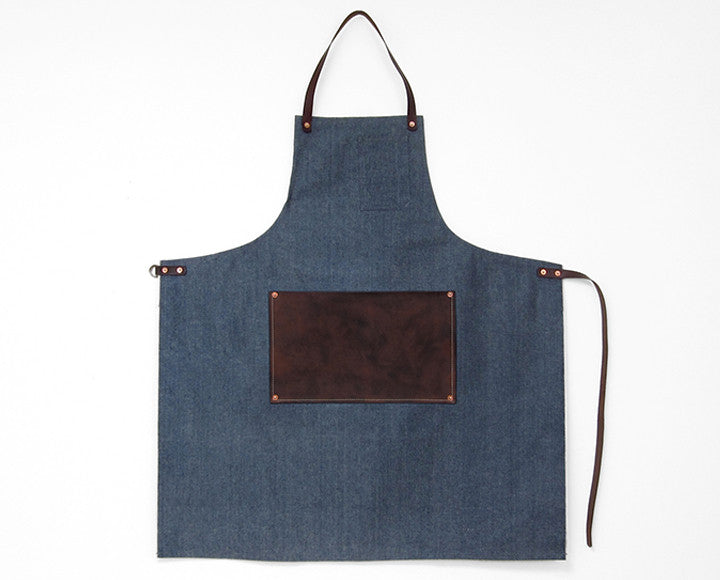 Leather Lap Apron - Light Blue