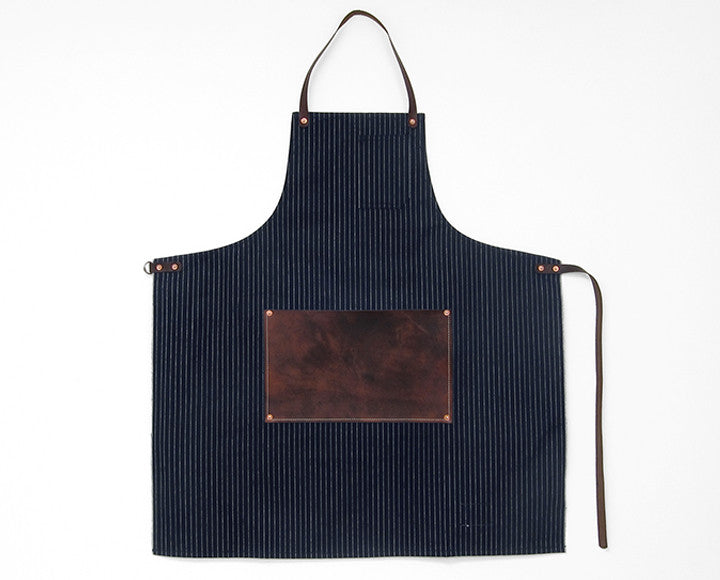 Leather Lap Apron - Pinstripe