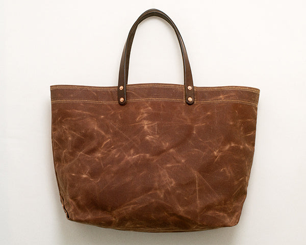 Brush Brown Waxed Canvas Tote