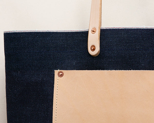 23oz Selvage Denim Tote w/ Leather Pocket