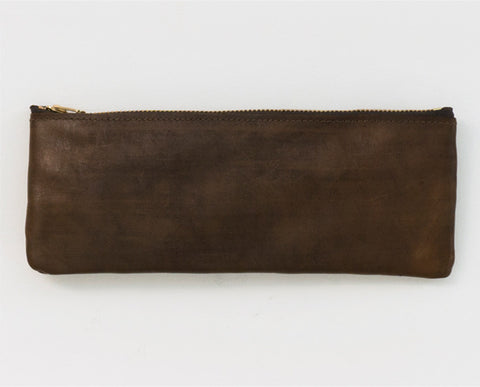 Leather Pencil Pouch - Brown