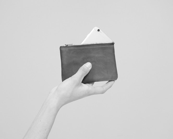 Leather Zip Wallet - Brown